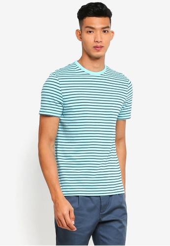 Topman 藍色 短袖條紋T恤 CF160AAAB362B9GS_1