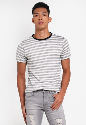 Indicode Jeans black and grey Simon Reversed Print Striped T-Shirt A6E84AA92E4597GS_1