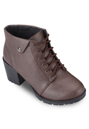 反折鈕釘高esprit mongkok跟粗跟短靴, 女鞋, 鞋