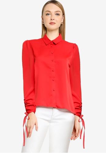 PIMKIE red Gathered Tie Sleeves Shirt BACFFAA7B5F09DGS_1