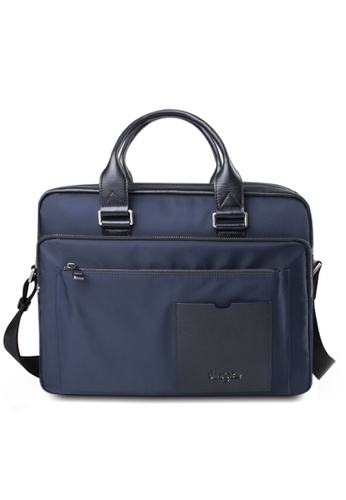 Valentino Rudy blue Valentino Rudy Leather-Trimmed Canvas Document Bag VA677AC40LSTSG_1