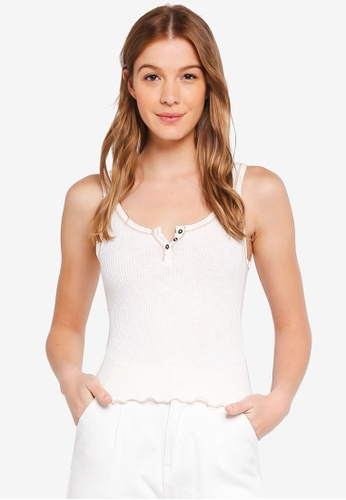 Abercrombie & Fitch white Rib Henley Swing Tank Top 994D9AABCFB0BDGS_1