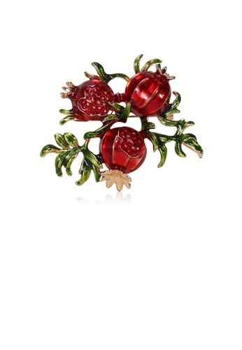 Glamorousky silver Fashion Simple Plated Gold Pomegranate Brooch 0E13FAC059DE07GS_1