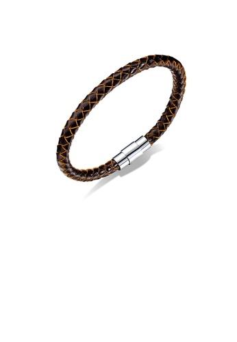 Glamorousky silver Simple Fashion Brown Braided Leather Long Bracelet B6B24AC8AF4F65GS_1