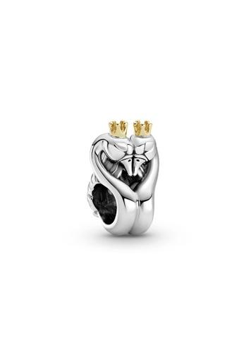 Pandora gold Two-Tone Swans & Heart Charm 6A13DAC188F487GS_1