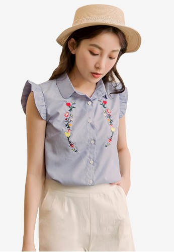 Eyescream blue Embroidery Ruffle Sleeve Shirt 35B1CAA5F75594GS_1