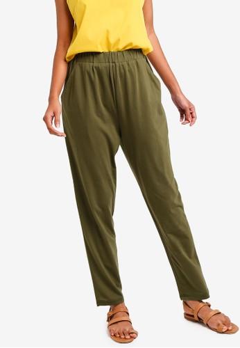 ZALORA BASICS green Basic Jersey Peg Leg Pants 65F28AAAB5C0DCGS_1