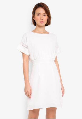 ZALORA white Lace Contrast Batwing Dress 79CFBAADEDFF50GS_1