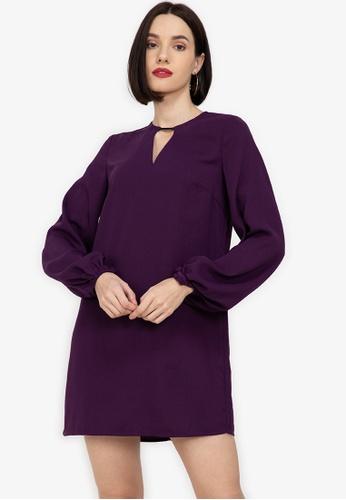 ZALORA WORK purple Bar Detail Balloon Sleeves Dress 0B40BAAE6871DBGS_1