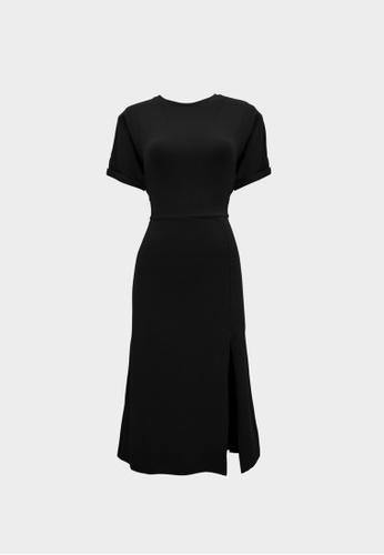Pomelo black Sustainable Cotton Tie Waist Slit Dress - Black D2995AAE018B04GS_1