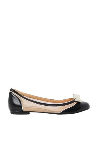 Nina Armando black and beige Lena Leather Ballet Flats NI342SH0FV93SG_1