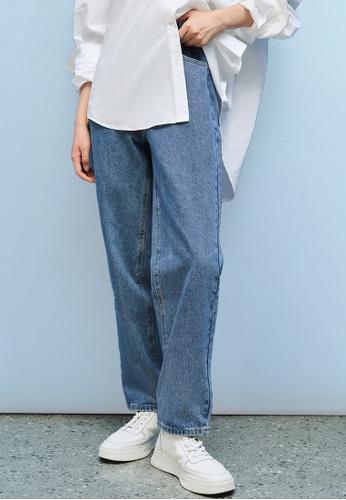 Urban Revivo blue Unisex Straight Leg Jeans D23FCAAFE24077GS_1