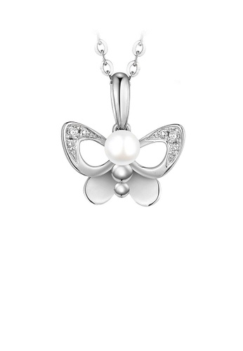 Glamorousky white 925 Sterling Silver Mothers Day Butterfly Pearl Pendant with Necklace 5C2F9AC9C9438BGS_1