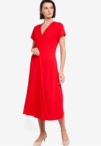 ck Calvin Klein red MATTE CREPE JERSEY FLUID DRESS 19006AADF1967CGS_1