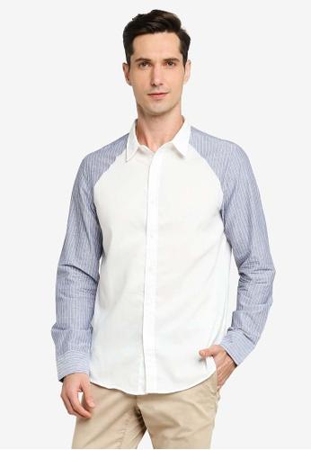 ZALORA BASICS white Raglan Button Down Long Sleeve Shirt ADED0AAB18D882GS_1