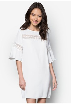 Love Lace Insert Fluted Sleeves Dress
