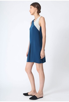 a10a40dfd1459f SALIENT LABEL Vea Contrast Colour Panel Dress - Royal Turquoise S  82.00.  Available in several sizes