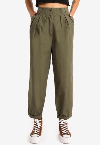 PIMKIE green Button High Waist Pants 66637AA7E0E235GS_1