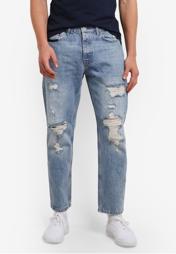 Topman blue Light Wash Original Ripped Jeans TO413AA0S4QCMY_1