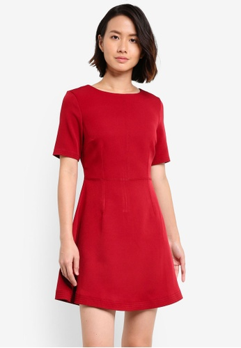 ZALORA red Sitich Detail Fit & Flare Dress 22203AA02ACF28GS_1