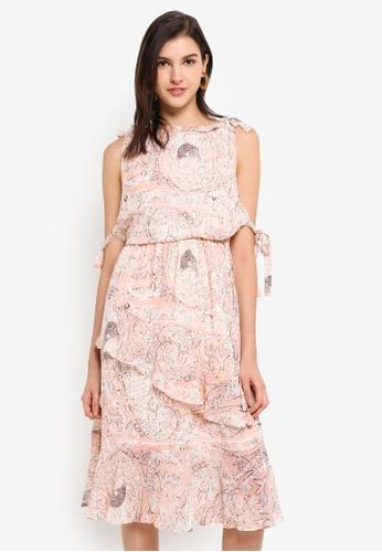 INDIKAH pink Printed Halter Neck Ruffled Dress 5319BAA4967CACGS_1