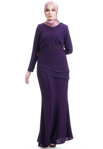 Ashura purple Rosella Kurung With Layered Flare 04343AAD2C7958GS_1