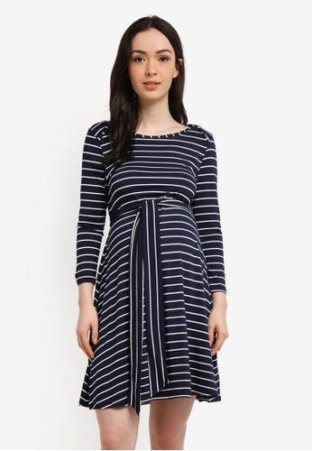 Envie De Fraise white and navy Maternity Salome Long Sleeve Dress B8341AA99447B5GS_1