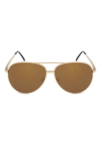 Maldives Eyewear brown Trevor Classic Aviator Sunglasses with Spring Hinge 1034-12-Y MA573GL49QOKPH_1