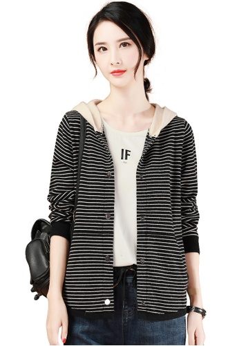A-IN GIRLS black and beige Simple Striped Hooded Knitted Coat 9CF50AADDA8DAAGS_1