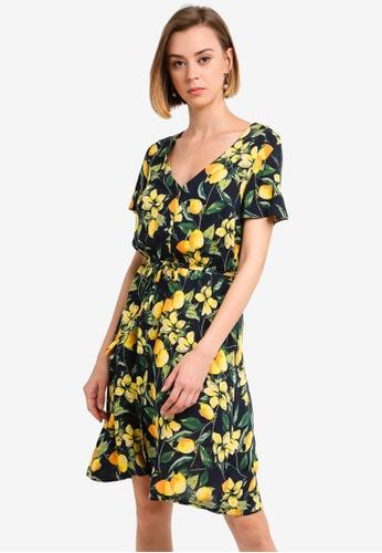 c3bc54363383 Buy Dorothy Perkins Lemon Print Fit And Flare Dress | ZALORA HK