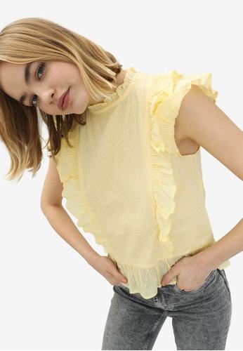 PIMKIE yellow Frilly Swiss Dot Blouse D2F8BAA9D3C277GS_1