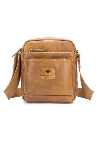 ENZODESIGN brown and yellow ENZODESIGN Buffalo Leather Mini Cross Body Shoulder Bag 39E20AC3AF85E1GS_1