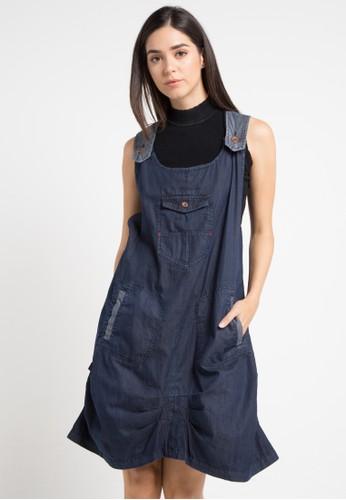 Miyoshi Jeans navy Ov117Pk Drepery Outlattes Overall Skirt F75E7AAF87D394GS_1