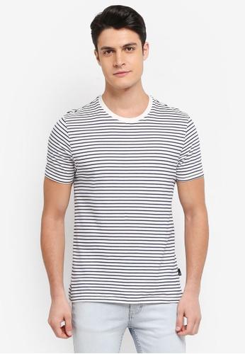 Burton Menswear London 米褐色 短袖條紋T恤 AC94BAAFB5F4A3GS_1
