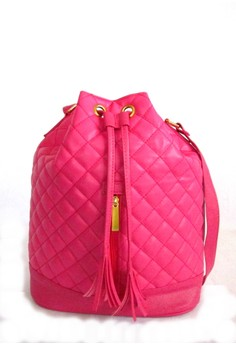 Lamb Leatherette Quilted Bucket Bag