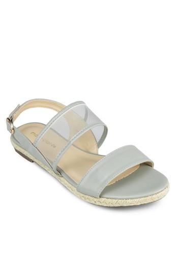 Falcon esprit門市地址網眼繞踝平底涼鞋, 女鞋, 涼鞋