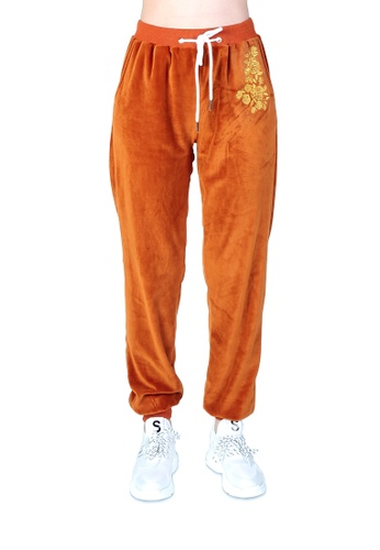 London Rag brown Honey Brown Velour Cuffed Joggers With Drawstring 966BBAAF52DB36GS_1