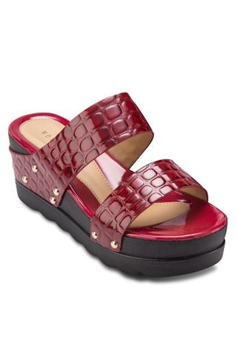 鉚釘蛇esprit手錶專櫃紋寬帶楔形鞋, 女鞋, 鞋