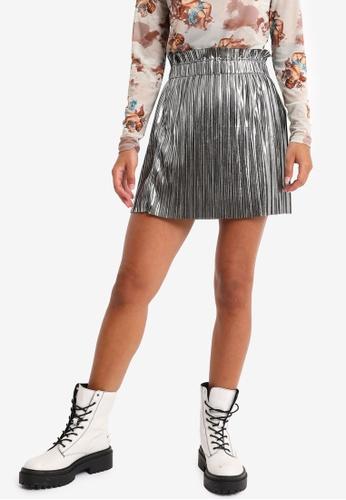 PIMKIE silver Metallic Pleated Mini Skirt 231F2AA068010EGS_1