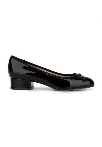 MAUD FRIZON black Patent Leather Almond Toe Pump With Bow & Studded Detail 334F0SHDDEF536GS_1