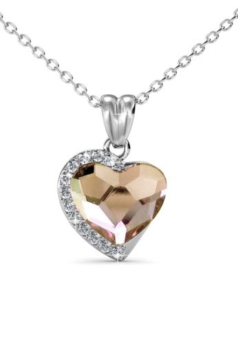 Her Jewellery silver Fond Love Pendant (Champagne) - Made with premium grade crystals from Austria HE210AC0GFHRSG_1
