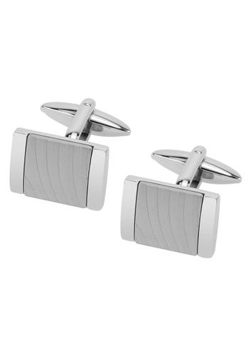 CUFF IT silver Stainless Steel Zebra Texture Cufflinks CU047AC80ORRHK_1