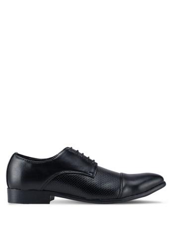 UniqTee 黑色 Textured Cap Toe Dress Shoes 03566SHC412243GS_1