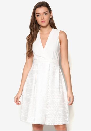 蕾絲拼接低胸洋esprit 中文裝, 服飾, 洋裝