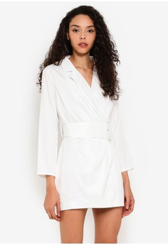 33df21a95e88 MISSGUIDED white Petite Belted Blazer Dress 80EABAAA831B0DGS_1