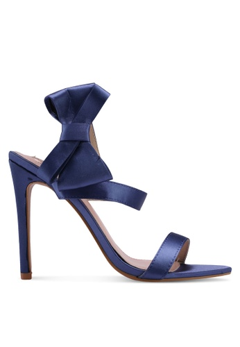 Velvet blue Heels with Bow Detail 07F1ESH1E67889GS_1