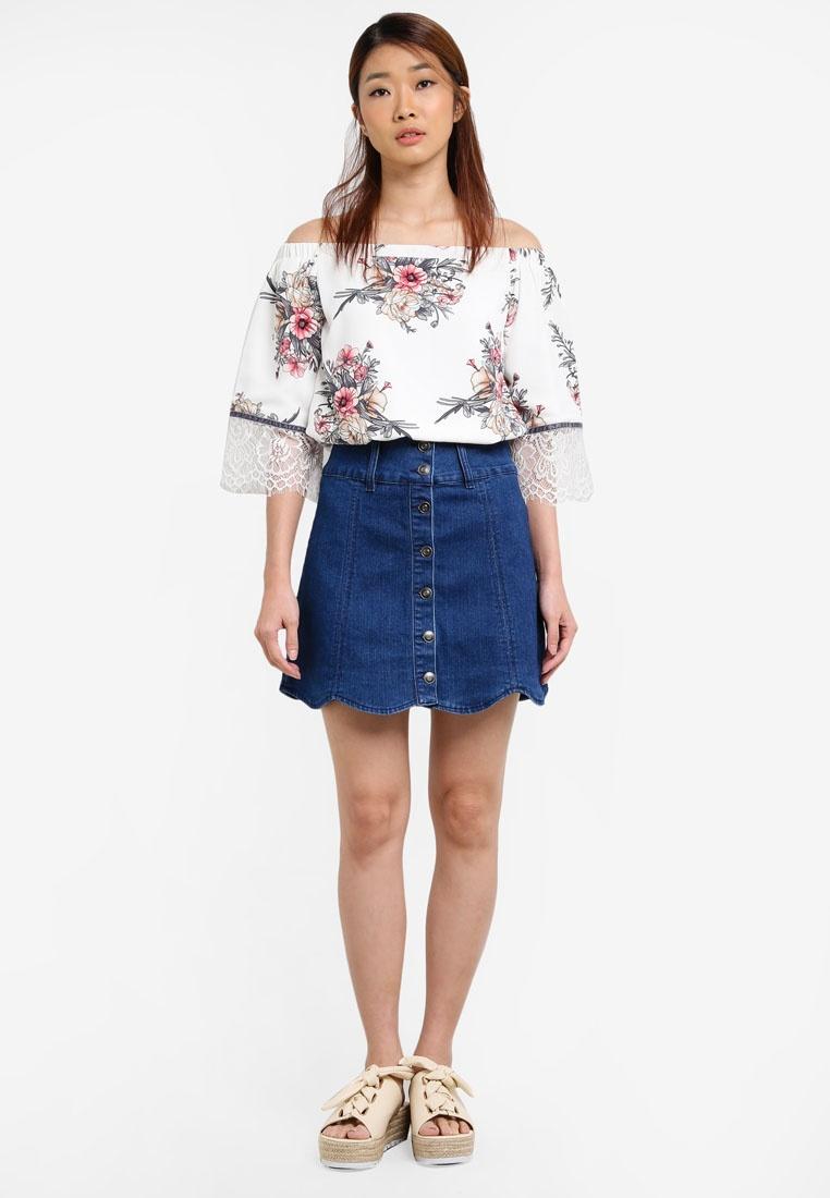 Borrowed Lace Shoulder Print Off Top White Floral Paneled Something PqxzHwFdaa