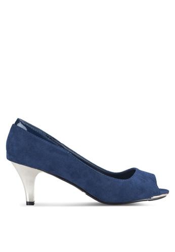 DMK blue and navy Suede Peep Toe Heels DM860SH23CBGMY_1