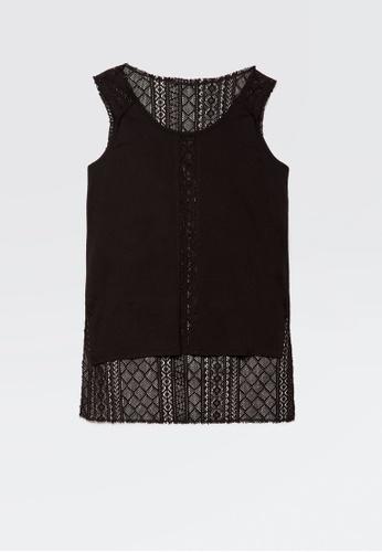 Sisley black Sleeveless Lace Top BFBFAAA2F34130GS_1
