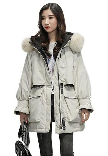 Sunnydaysweety beige Large Fur Collar Padded Parker Coat A102207BE 6ED45AA5BDA6BFGS_1